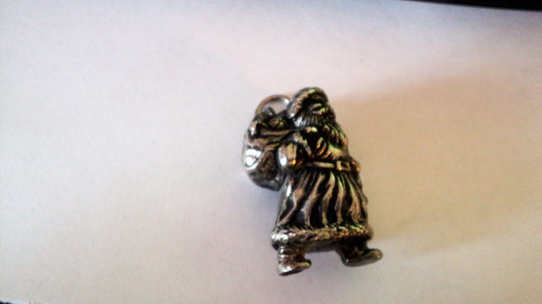 Vintage Pewter Santa Claus Charm Signed HMK #00095