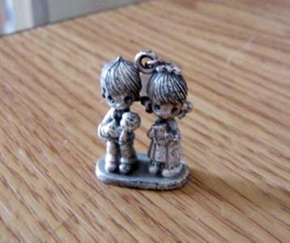 1981 Jonathon & David Licensed Enesco Man, Woman and Baby Pewter Figurine Charm  #00049