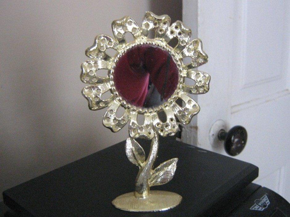 Gold Tone Torino Sunflower Earring Holder Center Mirror #00040