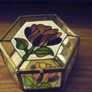 Interpur Six Sided Stained Glass and Brass Footed Jewelry Trinket Box Etched Flowers on Lid #00120