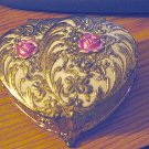 Vintage Footed Brass Trinket Jewelry Box Pink Roses on Lid  #00114