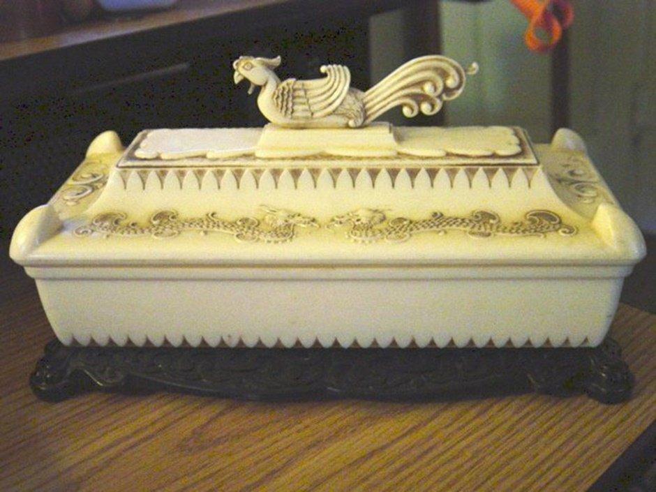 Asian White Bakelite Plastic Dragon Dresser Casket Box  #00107