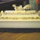 Asian White Bakelite Plastic Dragon Dresser Casket Box  #00107