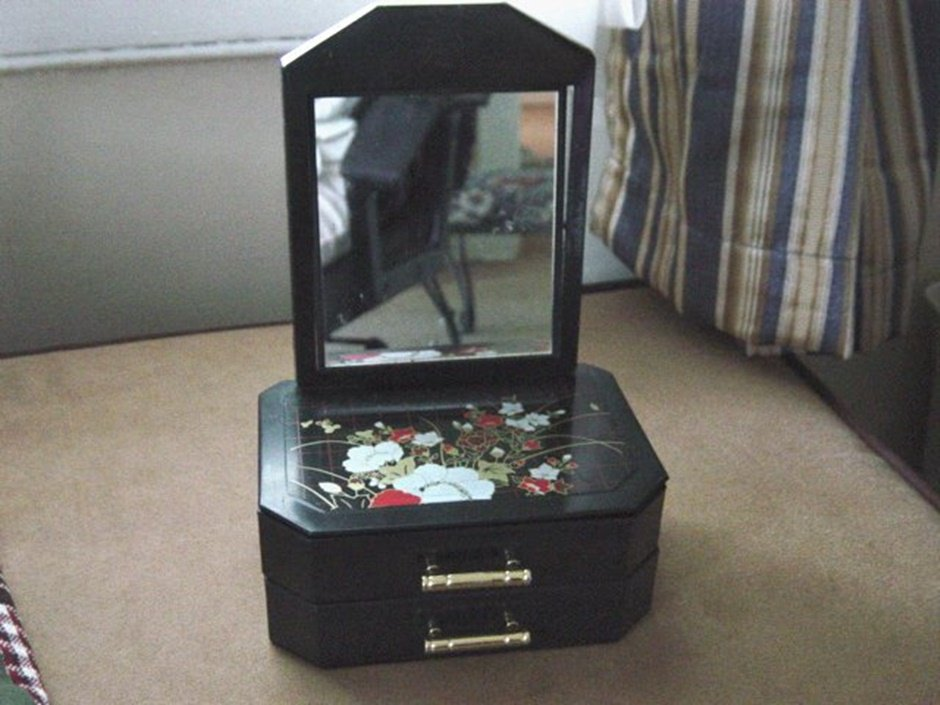 Vintage Oriental Plastic Two Drawer Black Jewelry Box with Stand Up Mirror #00106
