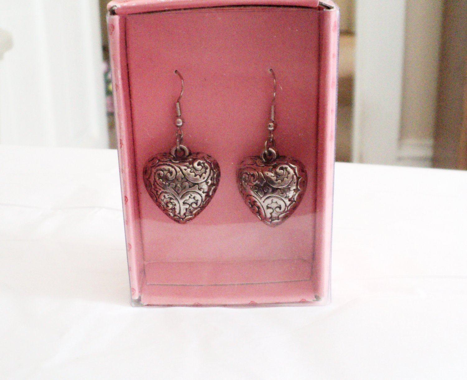 Sweetheart Station Silver Tone Heart Drop Dangle Earrings with Center Stone #00238