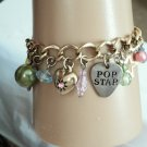 Disney Gold Tone Pop Star Charm Bracelet #00239