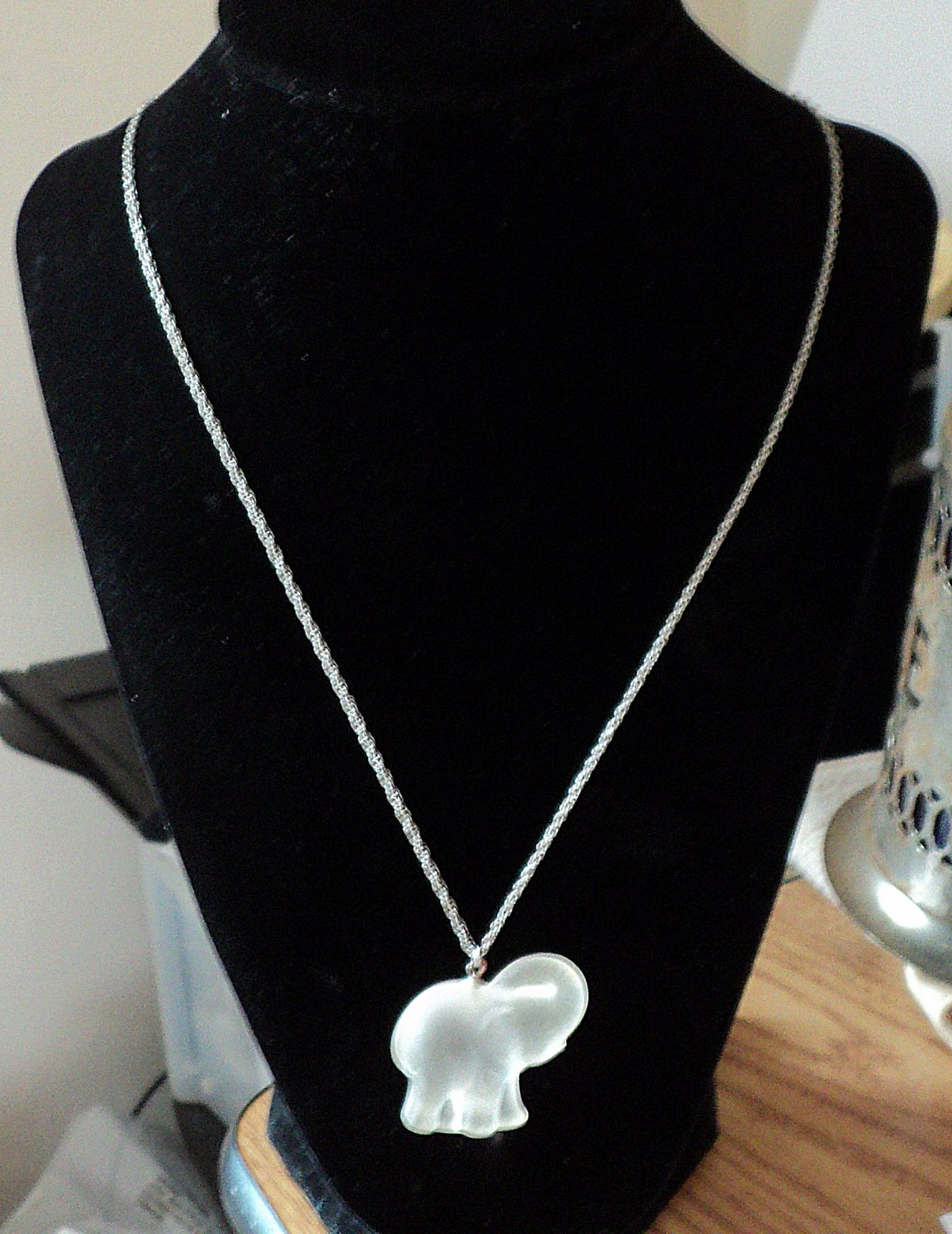 """Silver 10"""" Chain with Crystal Elephant Pendant Necklace #00245"""