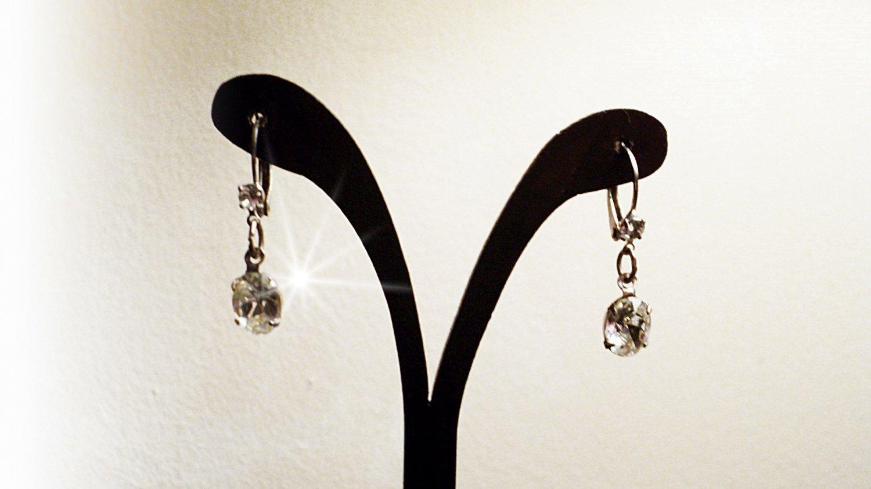 Silver Tone Rhinestones Lever Back Dangle Earrings #00249