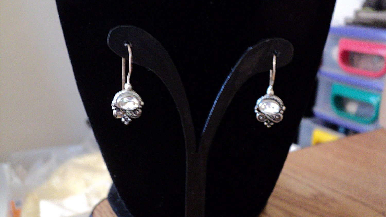 Silver Tone Rhinestones Dangle Earrings #00250