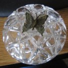 Vintage Crystal Round Shaped Vanity Trinket Box Silver Butterfly on Lid  #00251