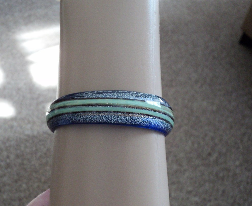 Vintage Translucent Blue & Green Lucite Bangle Bracelet  #00252