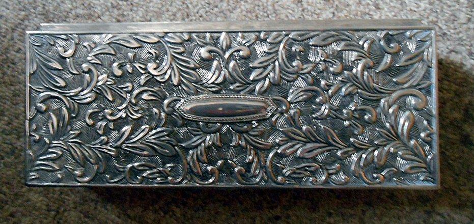 Vintage Velvet Lined Godinger Silver Plated Jewelry Box Casket Floral Design #00288