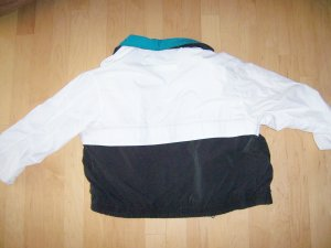 Men's White Jacket W Black Aqua&Yellow Trim
