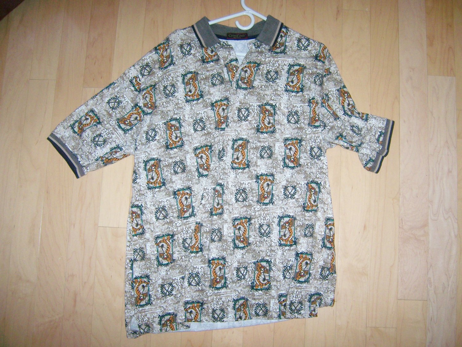 Tan With Tigers Designed XL by Cross Creek Golf Shirt