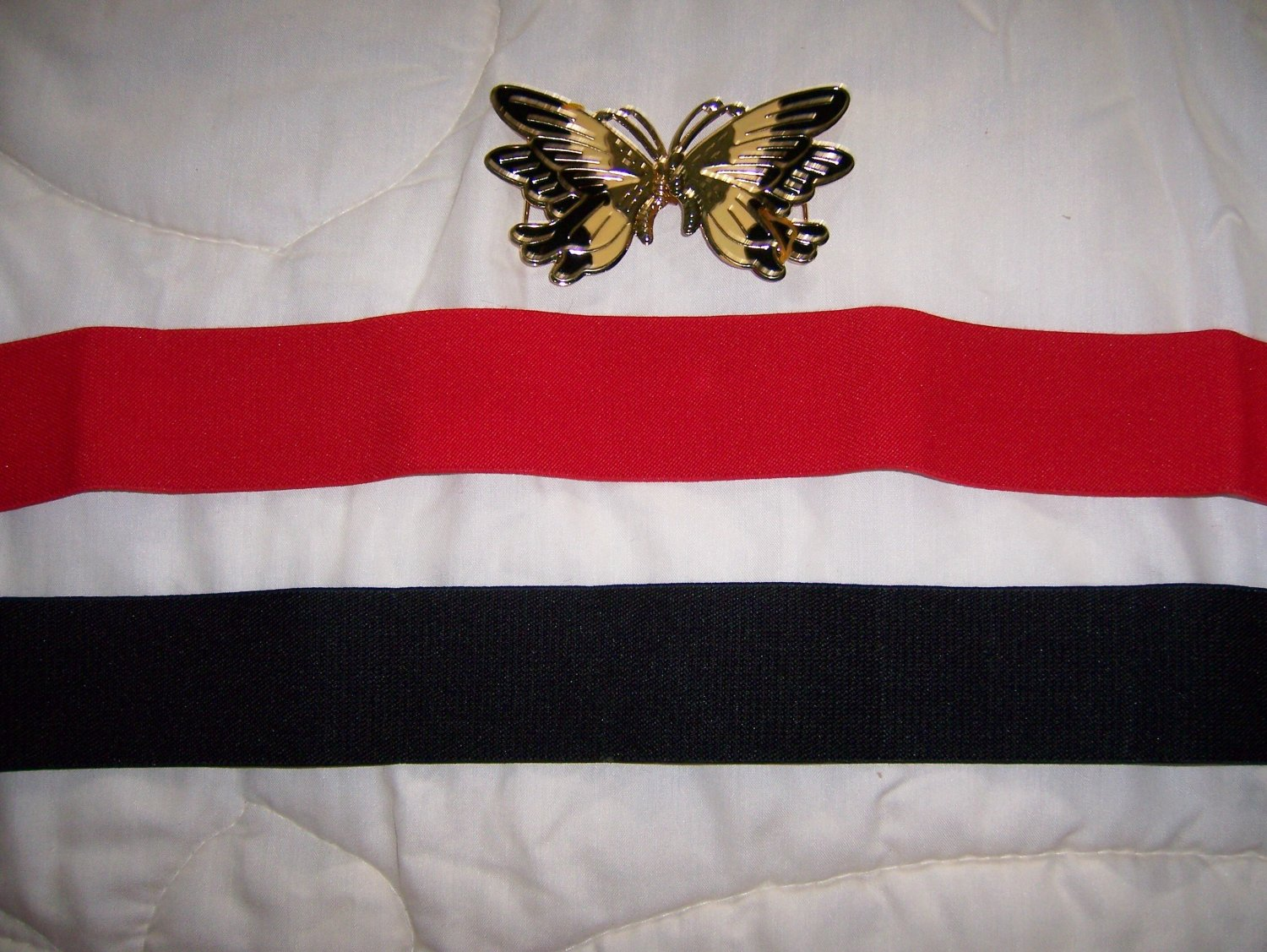 Two Belt Set Elastic Red & Black W Butterfly Glasp BNK150