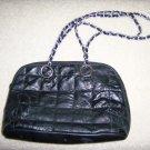Black Patch Work Purse w Silver/Black Carry Chain BNK158