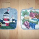 Pair Pot Holders 7x7 1/2 LightHouse & Grapes&Cheese