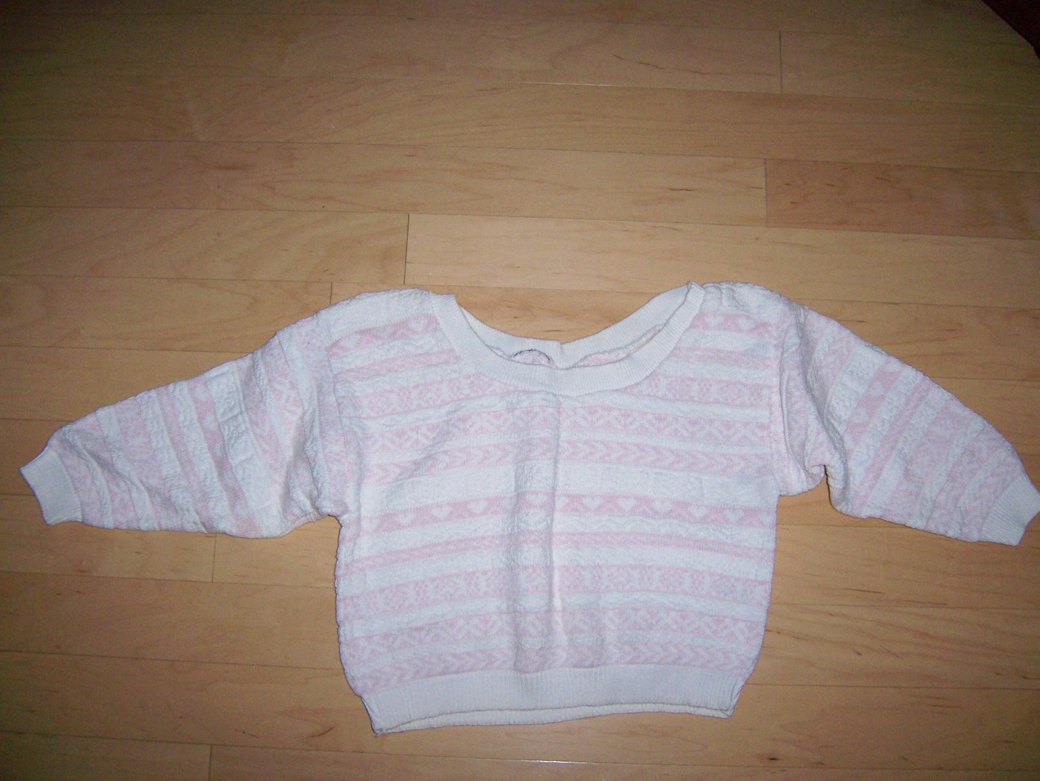 Sweater Pink & White 3/4 Sleeves Size 34 BNK206