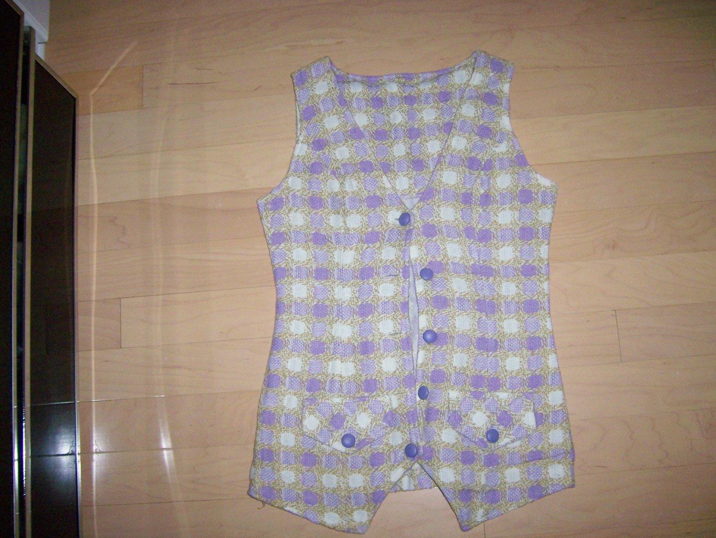 Long Style Vest Lilac & White Size 34 BNK216