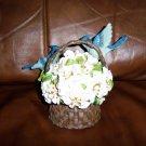Two Blue Birds In Basket Of Flowers BNK382
