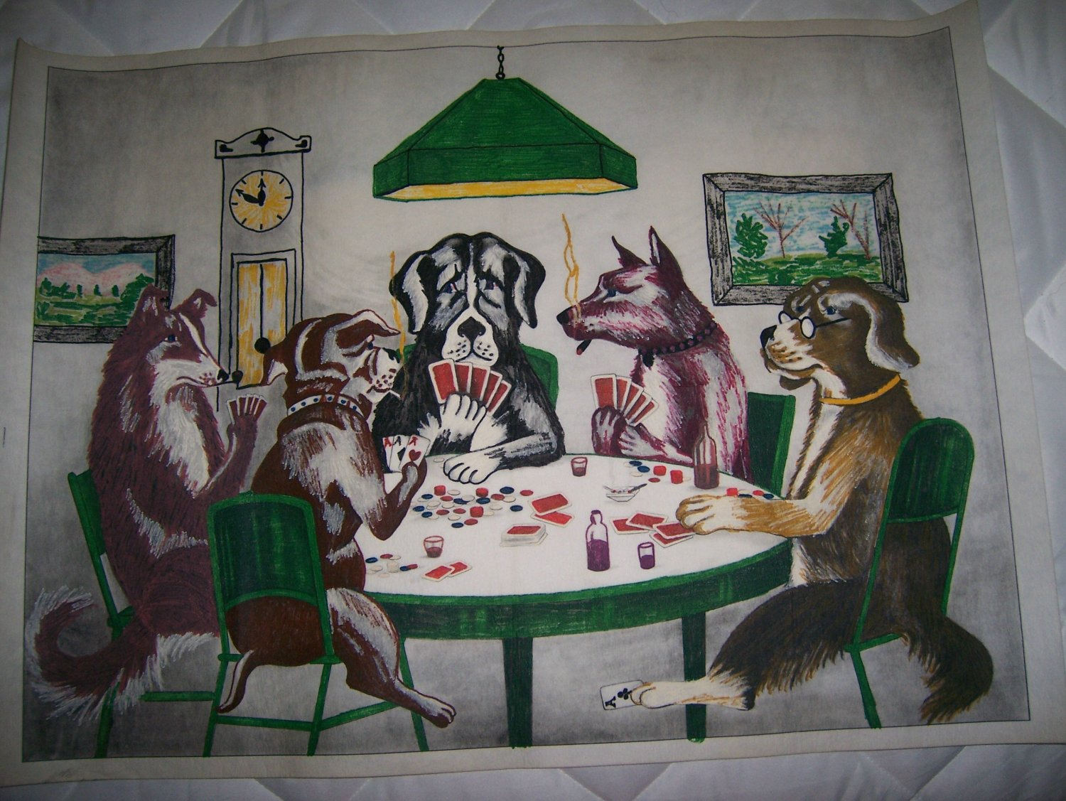 "Picture Dogs Playing Poker 26""x19""  BNK584"