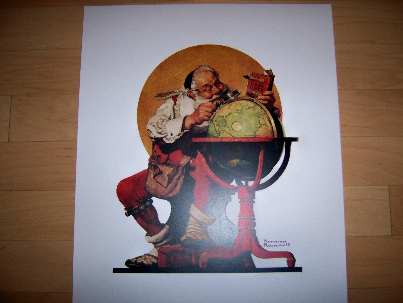Norman Rockwell's Print Santa Planning His Visit BNK