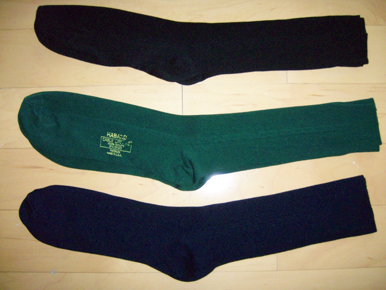 Men's Socks Nylon/Cotton Black-Navy-Green Size 10-13 BNK1045