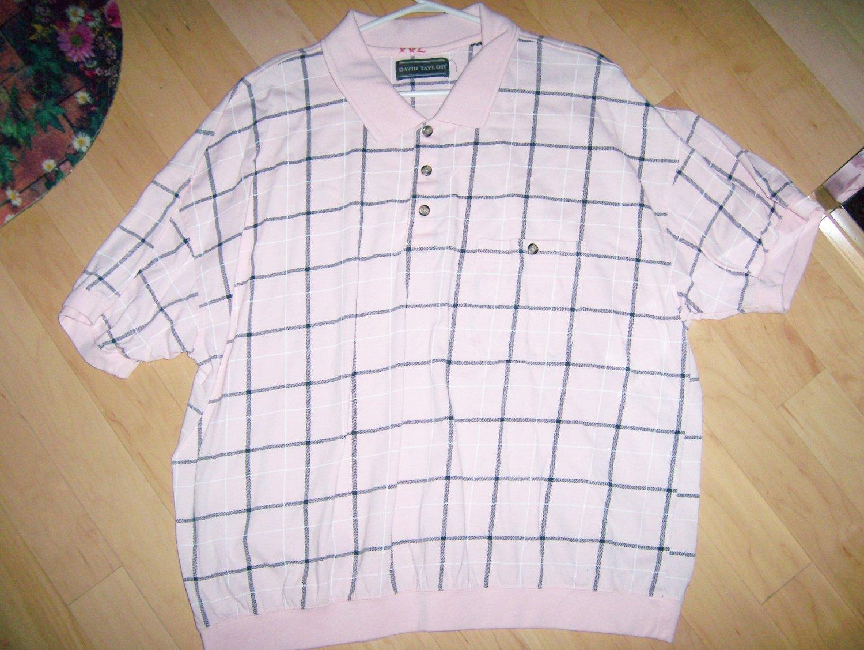 Men's Short Sleeve Polo Pink w Black Checked XXL BNK1380