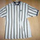 Men's Golf Shirt XXL White w Brn&Blk Stripes By Cutter & Buck BNK1393