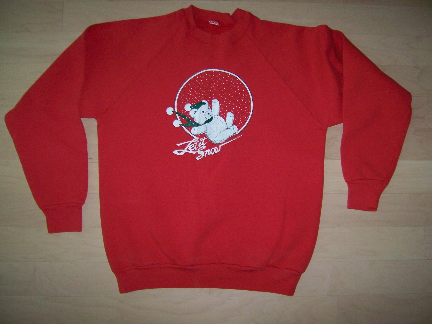 "Sweat Shirt ""Let It Snow""  Red Cotton Size 36  BNK1444"