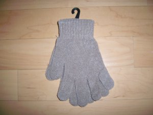 Mittens Chenille Acrylic  One Size Fits All  Tan  BNK1478