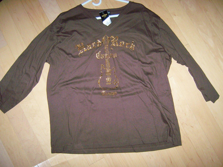 Hard Rock 3/4 Sleeve Brown With VNeck XXL  BNK1551
