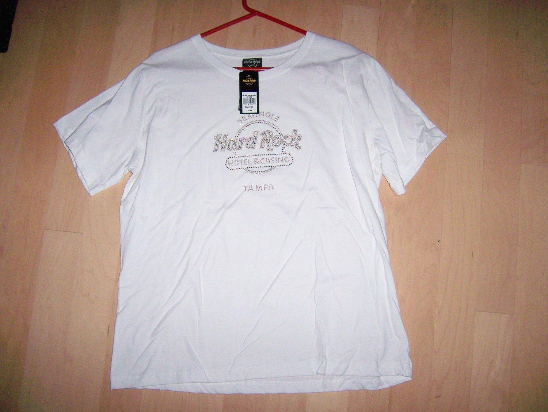 Hard Rock Shirt White XL  With Silver Sparkles Logo BNK1561