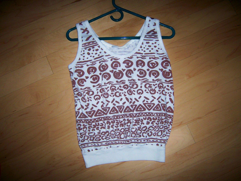 Ladies Tank Top White w Brown Aztex Desings Size 10 BNK1625