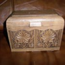 Recipe Box Brown w Leaf Designs Box & Cards BNK2829