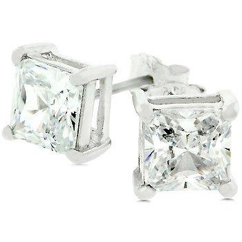 Princess Cut Sterling Silver Stud Earrings