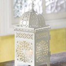 White Scrollwork Moroccan Candleholder