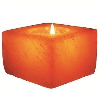 Cube Himalayan Salt Candle Holder