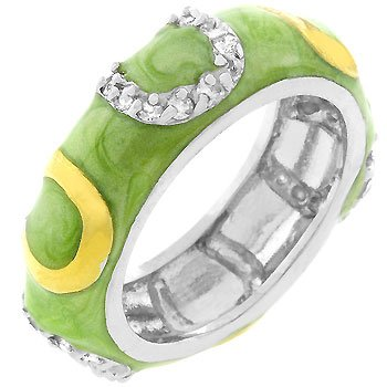 Light Green Enamel Horseshoe Ring