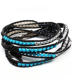 Wrap Bracelet Turquoise Black Leather