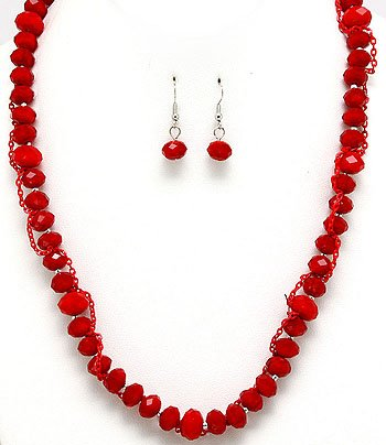 Red Velvet Glass Bead Chain Necklace With Earrings Set