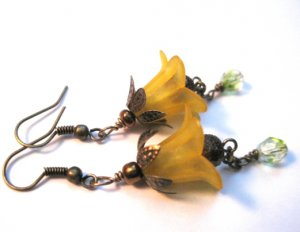 Antique Bronze Daffodil Dangle Earrings
