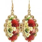 Floral Cameo Porcelain Dangle Earrings Victorian Style Earrings