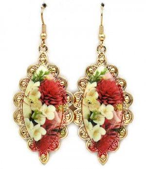 Floral Cameo Porcelain Dangle Earrings Victorian Style Earrings