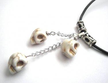 White Howlite Skulls Leather Necklace