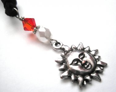 Metal Sun Swarovski Crystal Suede necklace