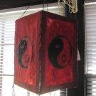 Lokta Red Paper Lantern Yin Yang Design