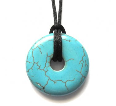 Blue Turquoise Howlite Donut Necklace