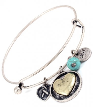 Love Heart Turquoise Hinge Latch Bangle Bracelet