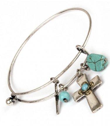Cross Charm & Turquoise Hinge Latch Bangle Bracelet